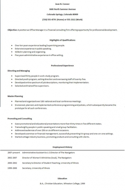 Teen Resume Example. The Top Executive Resume Examples Written By A ...