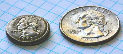 shrunken coin, a U.S. Quarter is shrunken to about the size of a dime