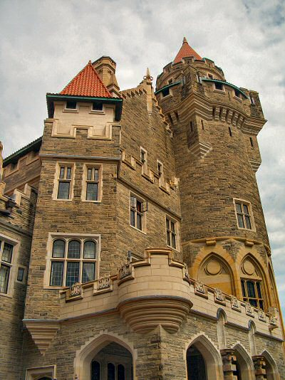 Casa Loma Castle in Toronto, seen from the flower garden looking up at the castle heights