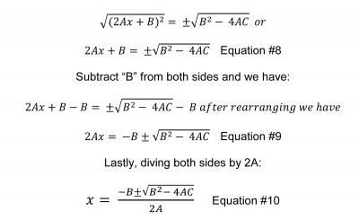 Deriving the Quadratic Formula by Completing the Square Method