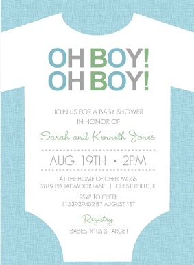Bouncing Baby Boy Shower Invitations