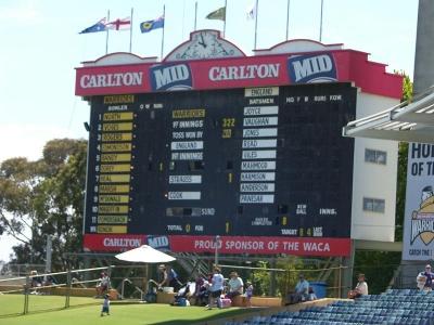 Scoreboard at the WACA