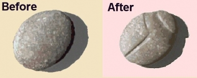 before and after images of the carved stone Scarab Beetle