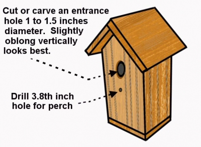 Carve or cut an entrance hole and perch hole for the birdhouse