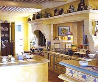 French country kitchen in yellow and blue the interior for Blue and yellow kitchen decorating ideas
