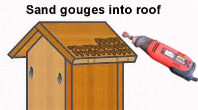 gouge (carve) semi-round notches into the birdhouse roof to suggest tiles or shingles