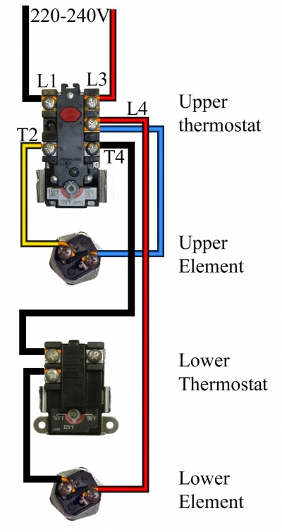 hwh tstat dual element diagram testing thermostats on electric hot water heaters 3 Phase Heater Wiring Diagram at gsmx.co