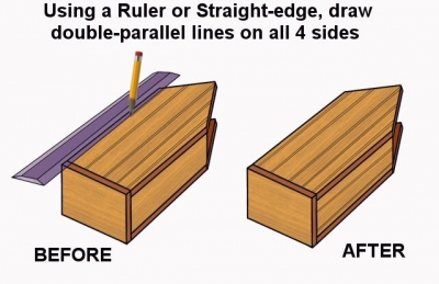Using a Ruler or other Straight-edge, mark double parallel lines lengthwise on the sides of the birdhouse, suggesting individual planks or boards