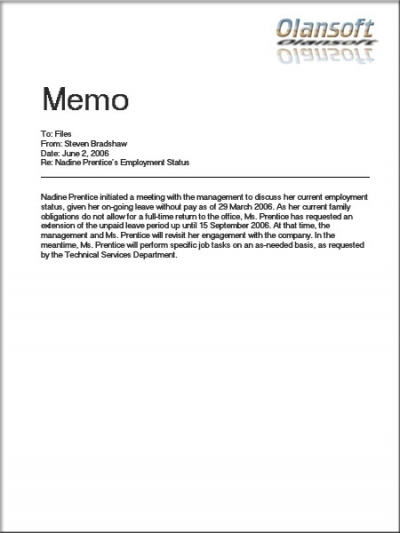 Office Memo Template Formal Office Memo Example Formal Memo