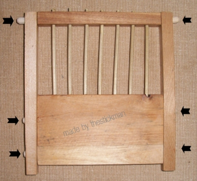 reproduction end panel of a coal miners birdcage, made by author using recycled hardwoods from salvaged dresser drawers