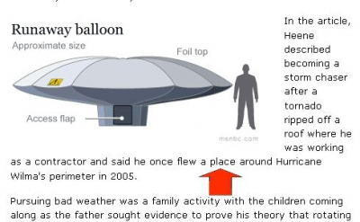 correctly-spelled but wrong word uses in Balloon Boy story image
