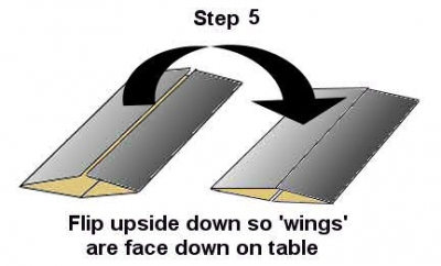 flip the paper over so that the wings now face the table surface