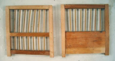 two opposing end panels for the reproduction model of a coal miners birdcage are made